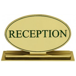 Oval desk sign RECEPTION mod. Victoria all in solid brass 210x140 mm